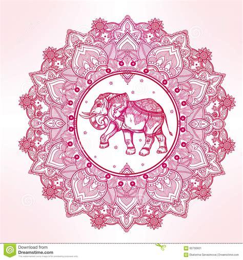 paisley mandala with elephant inside stock illustration