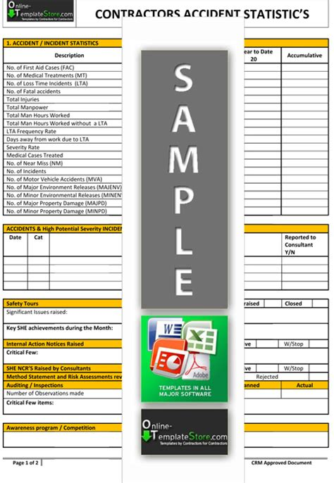statistics template health safety forms construction templates