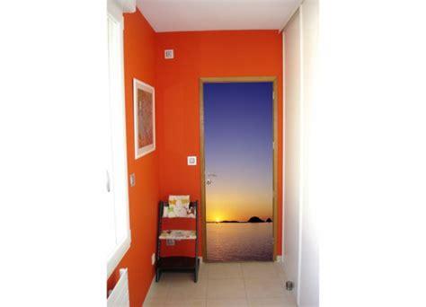 stickers trompe l oeil 2561 stickers pour porte coucher de soleil sur la mer