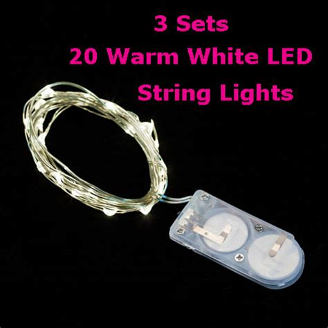 3 pack 20 warm white led battery mini lights on flexible