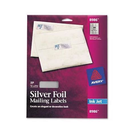 avery foil mailing labels 3 4 x 2 avery avery silver foil mailing labels for inkjet
