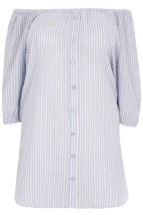 Flappy Jumpsuit blue white stripe bardot top with mock button detail