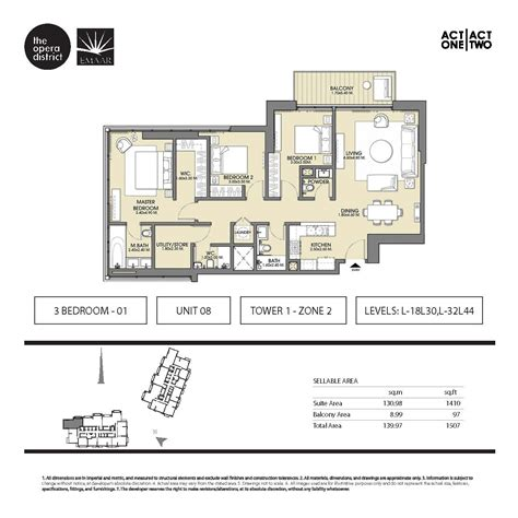 District One Dubai Floor Plans - act one residences floor plans opera district dubai