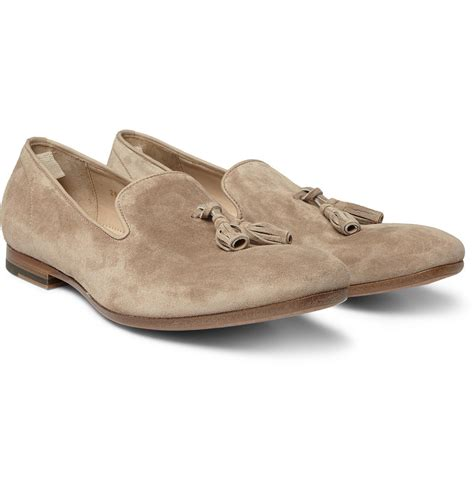 mcqueen mens loafers mcqueen suede tasselled loafers in beige for