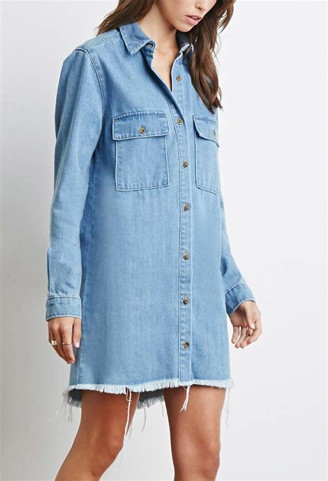Wst 14632 Blue Collar Dress forever 21 frayed denim shirt dress in blue lyst