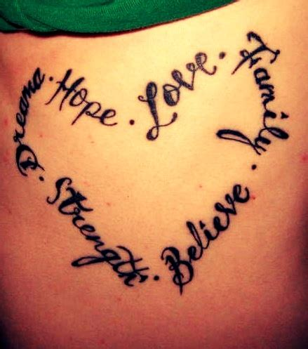 Tattoo Family Love Quotes | heart shape tattoo quotes on back hope love family
