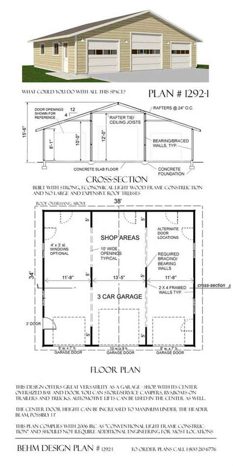 large garage plans oversized 3 car garage plans 1292 1 garage pinterest