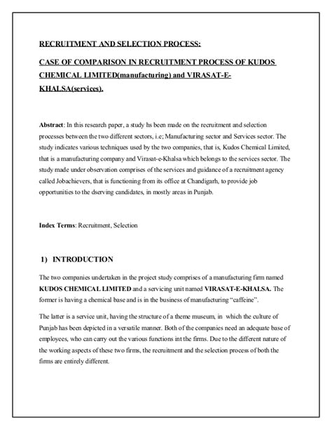 procedure in research paper research paper recruitment selection process how to make a