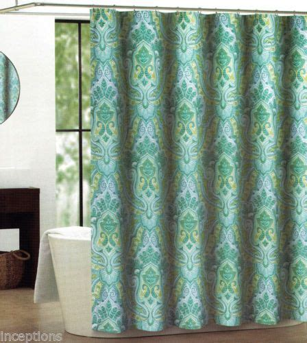 teal and lime curtains tahari fabric cotton blend shower curtain izmir teal lime