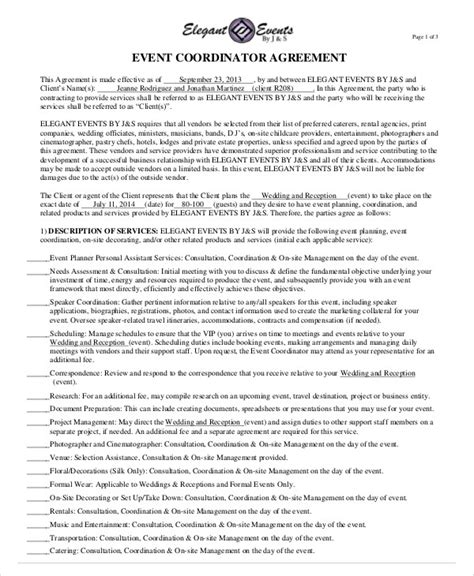 sle event contract agreement 8 exles in word pdf