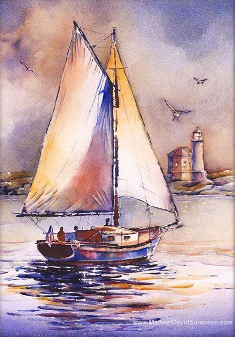 sailboat prints sailboat watercolor painting prints lighthouse art