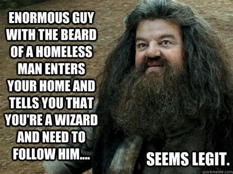 Hagrid Meme - enormous guy with the beard of a homeless man enters your
