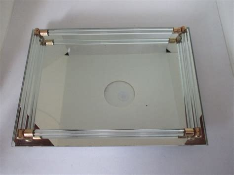 Dresser Vanity Tray by Vintage Dresser Vanity Tray Mirrored Glass With Glass Rods