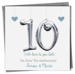 personalised 10 year tin wedding anniversary card husband any message ebay