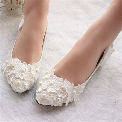White Wedding Flats by White Ivory Wedding Shoes Lace Bridal Shoes Bridal Flats