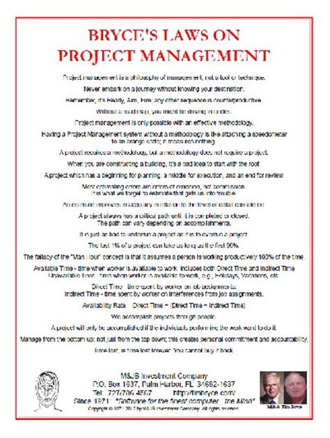 Mba Information System Management Project Topics by Quot Bryce S Laws Quot Mini Posters On Project Management And Systems