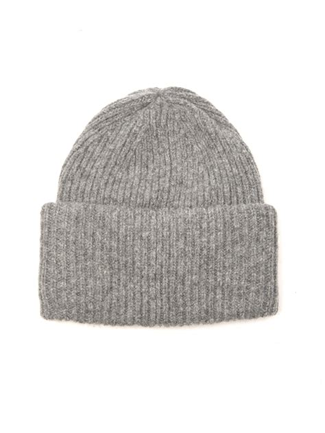 grey knit beanie acne studios pansy ribbed knit wool beanie in gray lyst