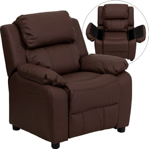 child recliner walmart flash furniture kids recliner with storage arms brown