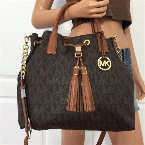 light brown mk purse nwt michael kors brown pvc leather tote shoulder crossbody