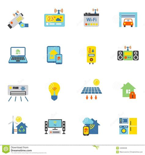 smart home icons flat stock vector image 44608328