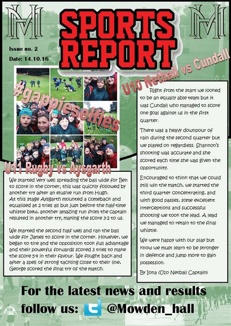 sports newsletter template sports report 14th october mowdenhall
