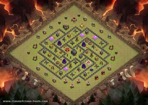 coc layout simulator th9 townhall 9 war base clash of clans layout created by
