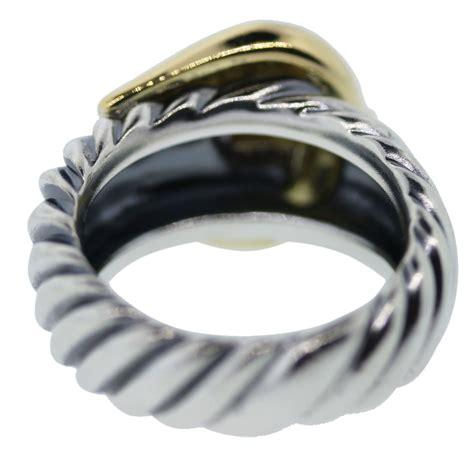 david yurman two tone 18k gold sterling silver buckle ring