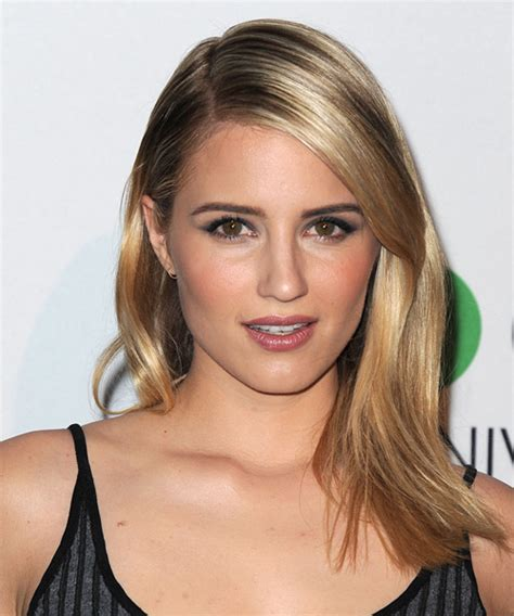 Dianna Agron Long Straight Formal Hairstyle   Dark Blonde