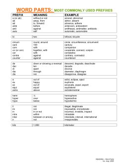 root words – common prefixes and suffixes • the following