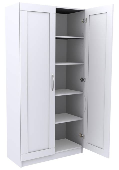 High White Wooden Storage Cabinet With Double Doors Also Small Black Handlers Placed On The