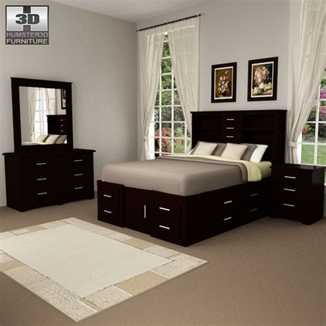 bedroom furniture 24 set 3d model humster3d