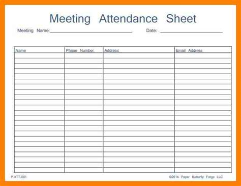 meeting attendance form pictures to pin on pinterest