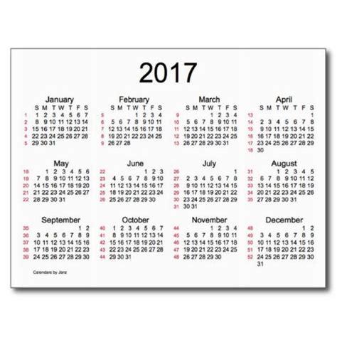 Calendar Weeks 52 Weeks 2017 Mini Calendar By Janz Postcard Calendars