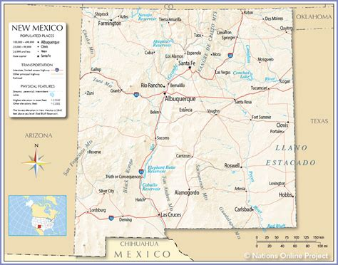 road map of new mexico and texas reference map of new mexico usa nations project