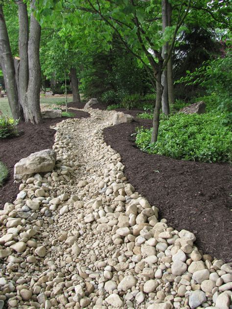 rain garden river rock channel rain gardens pinterest