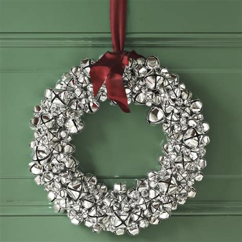 silver bell wreath with ribbon williams sonoma
