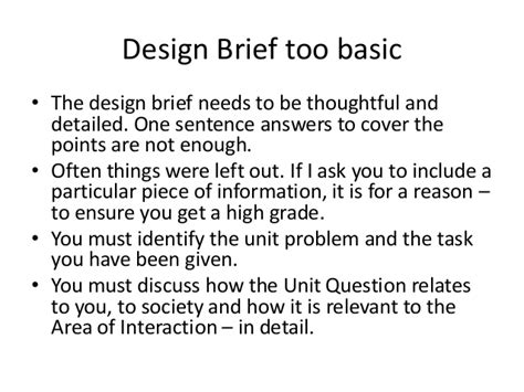 Design Brief In A Sentence | investigation stage myp technology unit 2