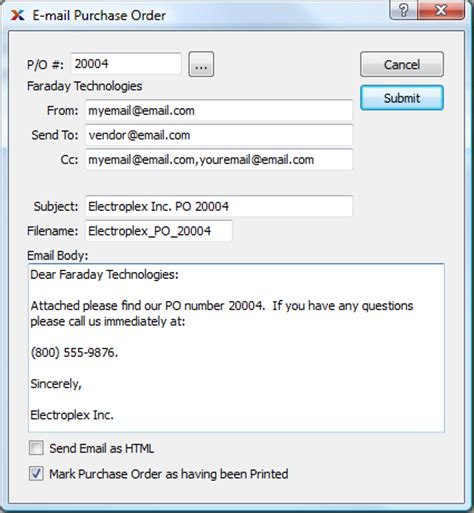 Purchase Order Sending Letter 2 Emailing Purchase Orders