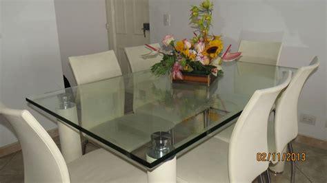juego de comedor mesa en vidrio de  puestos mesas