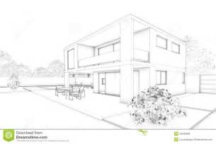 skizze haus sketch of modern house villa terrace and garden royalty