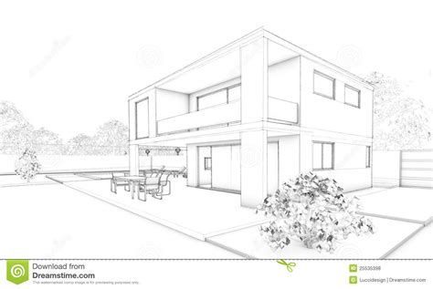 modern house drawing sketch of modern house villa terrace and garden royalty