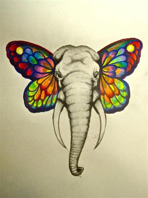 butterfly elephant tattoo new chapter strength and elephants on pinterest