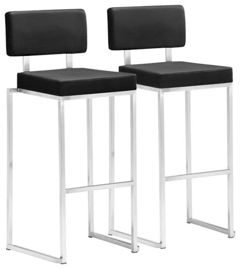 Stainless Bar Stools Contemporary by Zuo Decade Stainless Steel And Black Bar Stool Set Of 2