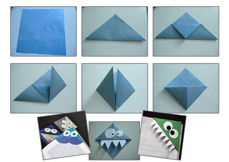 Origami Page - tuto origami marque page monstre activites