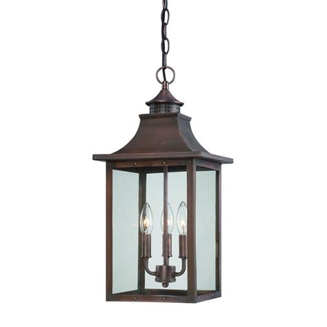 acclaim lighting st charles collection hanging outdoor 3 light copper pantina light fixture