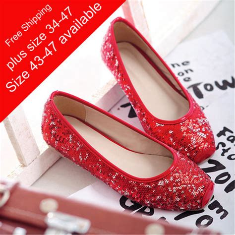 Comfortable Heels For Plus Size by Fashion Squre Toe Paillette Wedding Shoes Casual