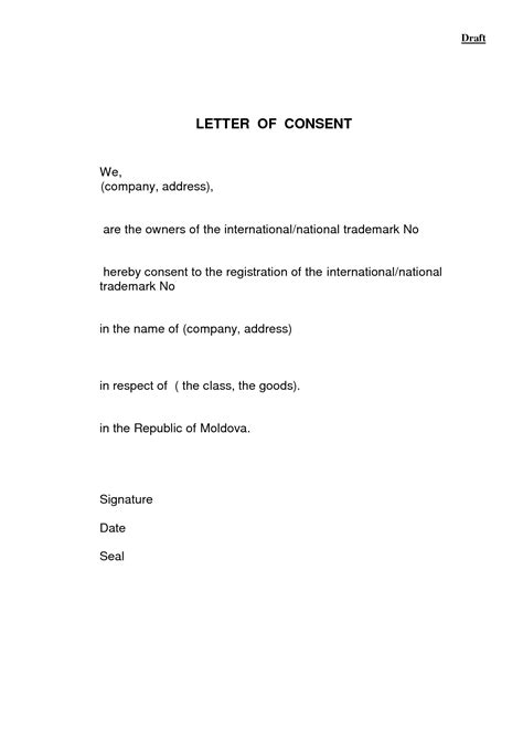 letter consent application form format of consent letter best template collection