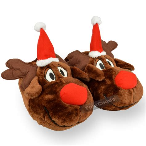 christmas house shoes mens boys big feet novelty red nose reindeer christmas slipper gift fur size ebay