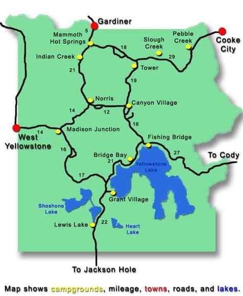yellowstone national park lodging map yellowstone frontcountry cing