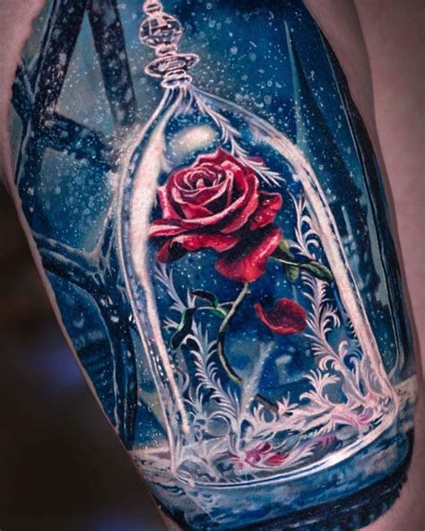 rose from beauty and the beast tattoo and the beast disney